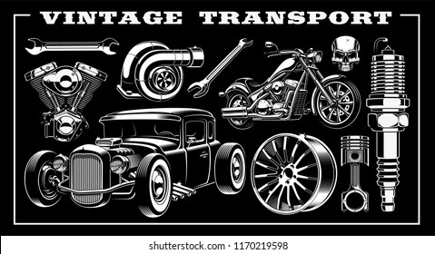 Design set of vintage transportation with different illustrations - hot rod, motorcycle, engine, piston and many other.