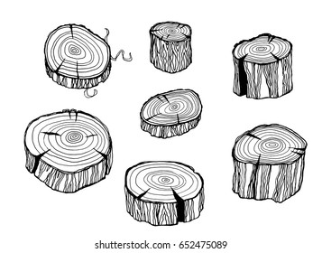 Design set with wood logs. Wooden trunks in hand drawn line art style. ink wooden sketch on white background