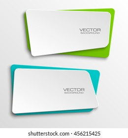 Design shape Origami vector banner. The original form as two squares with rounded corners, overlapping. Vector graphics