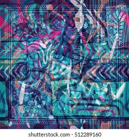 Design for shawl, textile. Paisley floral pattern. Abstract colorful backdrop