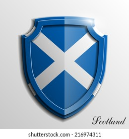 Design shield with the flag of the Kingdom of Scotland. Protect privacy Illustration, badge icon. Origami Banner presentation.