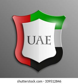 Design Shield  illustration banner with Abstract Background Flag UAE inside. United Arab Emirates template Art