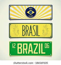 Design signboard in style car plates with inscription BRAZIL. Vector eps 10