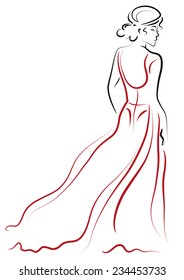 Design sketch with a female in a long red dress standing back.