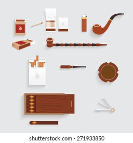 Design smoking set. There are tobacco pipes, cigarettes, matches, ashtray, tobacco