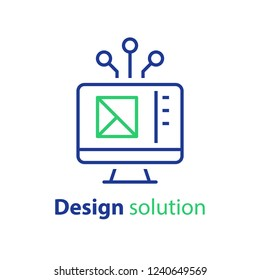 Design solution, prototyping concept, web interface, engineering and development, technical assignment, vector icon, linear illustration