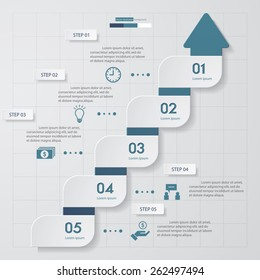 Design Spiral Arrow Chart 5 Steps Diagram template/graphic or website layout. Simple&Editable Vector.