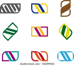 """Design spiral, knot ,leaf logo element. Colorful """"A"""", """"D"""",  """"V"""", """"M"""",""""N"""", """"U"""" letters icon set. You can use in biotechnology, energy and electricity equipment, computer medical science concept icon."""