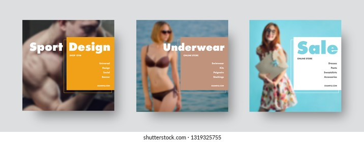 Design of square banners for social networks with photo on the background and rectangles and stroke for headlines and text. Universal templates for advertising sports, underwear, sales and fashion.