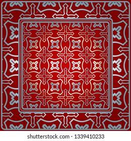 Design For Square Fashion Print. For Pocket, Shawl, Textile, Bandanna. Geometric Pattern. Vector Illustration. Red silver color.