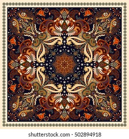 Design for square pocket, shawl, textile. Paisley floral pattern. Vector template