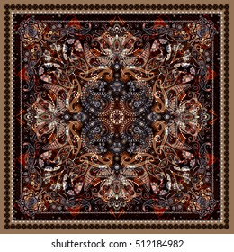 Design for square pocket, shawl, textile. Paisley floral pattern. Vector background