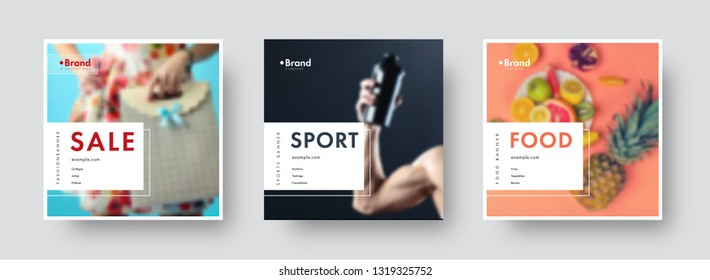 Design of square vector banners for social networks with white frame and place for photo and text. Universal templates for sports, sales, food. Set