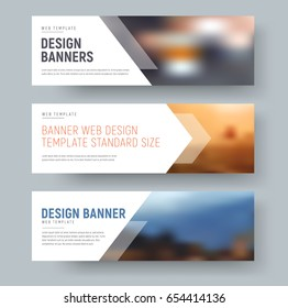 Design of standard horizontal web banners with space for photo and text. A template with an arrow and transparent elements. Vector illustration. Set
