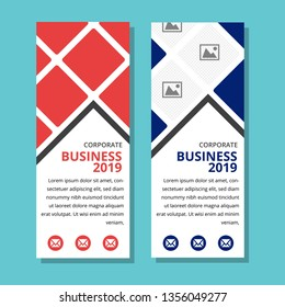 Design a standard roll up banner. Template of a vertical brochure for advertising business or travel. A set of flyers with a place for a photo. photo collage. red and blue color