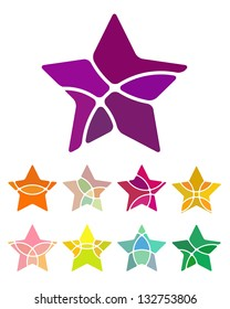Design star logo element. Abstract star vector template set.