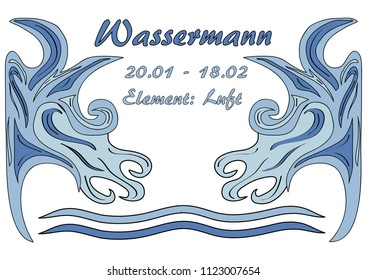 Design: star sign Aquarius, text in german: Aquarius, date, element: air. Vector Eps10