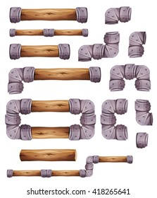 Design Stone And Wood Elements For Platform Game Ui/ Illustration of a set of graphic wood and metal elements for platform game user interface design, in cartoon style