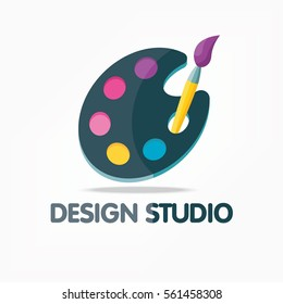 Design studio icons with palette and brushes. Vector illustration isolated.