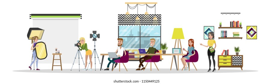 Design studio interior set. Creative people working together in a workspace, sharing ideas, drinking coffee etc. Girls make photos of product for website. Isolated flat vector illustration