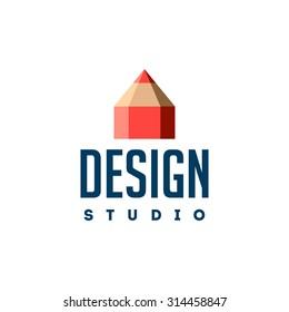 Design studio logo. Pencil