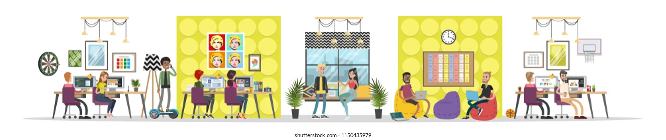Design studio modern interior. Creative people working together in a workspace, sharing ideas, drinking coffee etc. Isolated flat vector illustration