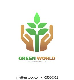 The design is suitable for all ecology related businesses, innovative materials and technologies, water, fresh food and nature. Hands holding Green leafs Eco icon.