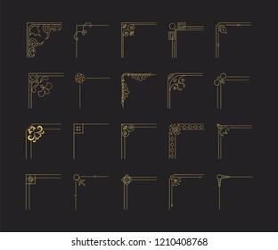 Design swirl golden borders and filigree corners on black background. Flourish glitter text decoration elements. Elegant Ink frames.
