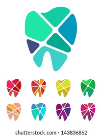 Design teeth logo element. Crushing abstract pattern. Colorful icons set.