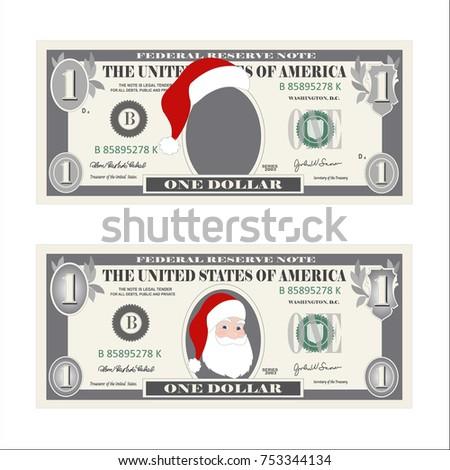 Design Template 1 Dollar Banknote Santa Stock Vector Royalty Free
