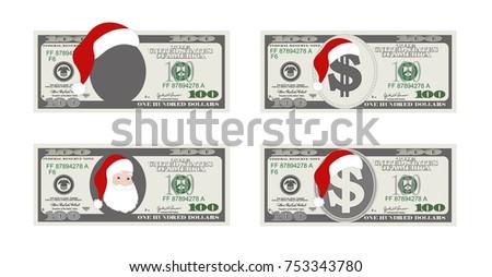 Design template 100 dollars banknote santa stock vector royalty design template 100 dollars banknote with santa claus one hundred dollar bill for christmas sales maxwellsz