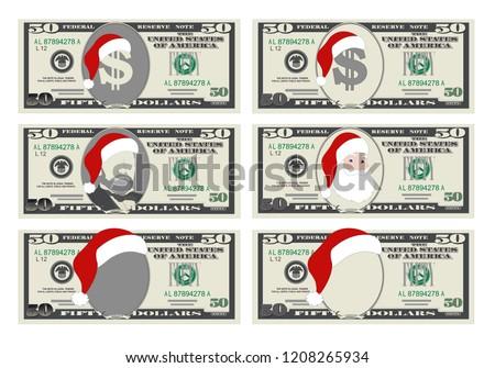 Design Template 50 Dollars Banknote Santa Stock Vector Royalty Free
