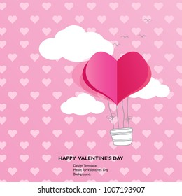 Design Template - Air balloon  Heart for Valentines Day Background.