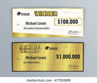 design template for award winning check background golden color vector