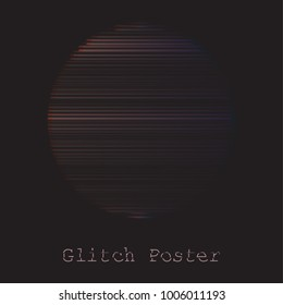 Design template background circle  in modern distorted glitch style templates for cover poster, banners, flaers,