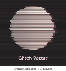Design template background circle  in modern distorted glitch style templates for cover posters, banners, flaers,