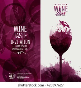 Design template background wine stains. Illustrations glass of wine with stains. Suitable for tasting events, wine presentation or wine list. Vector