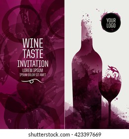 Design template background wine stains. Illustration glass and bottle of wine with stains. Suitable for tasting events, wine presentation or wine list. Vector