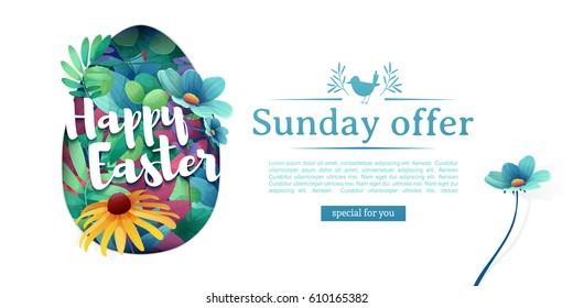 Design template banner for Happy Easter.  Silhouettes of egg with floral, herb, plant decoration. Horizontal card with logo for spring happy easter offer. Vector