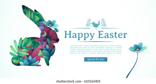 Design template banner for Happy Easter.   Silhouettes of rabbit with floral, herb, plant decoration. Horizontal card with logo for spring happy easter offer. Vector
