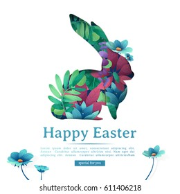 Design template banner for Happy Easter.   Silhouettes of rabbit with floral, herb, plant decoration. Square card with logo for spring happy easter offer. Vector