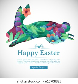 Design template banner for Happy Easter.   Silhouettes of jump rabbit with floral, herb, plant decoration. Horizontal card with logo for spring happy easter offer. Vector