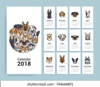 Design Template Calendar 2018. Character Funny Dogs. The style is fine line.