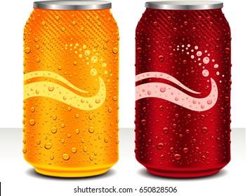 design template can cola, juice drink