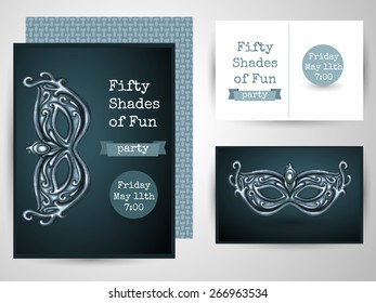 Design template card for adult party. Perfect for Bachelorette invitation card.  Poster design for cocktail lounge. Cocktail party vector concept. Isolated on grey background