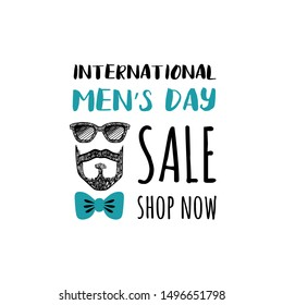 Design template card with cute portrait hand drawn style for International Mens Day. Sale. Shop now.