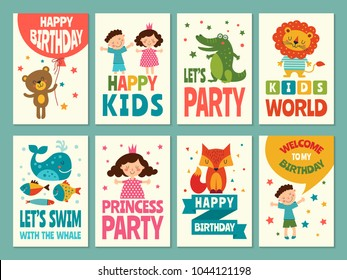 Design template of cards for childrens. Labels for packaging. Birthday card invitation to birthday. Vector illustration