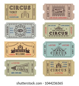 Design template of circus tickets. Circus ticket vintage collection. Vector illustration