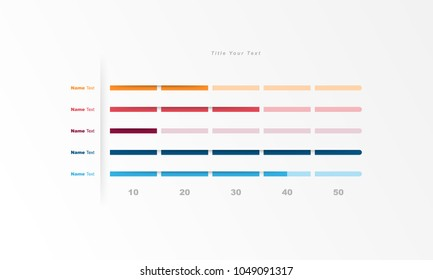 Design template data bar, table, chart, graph for use in business plan on white background. vector infographic elements style.