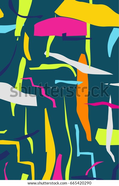 Design template drawing in vivid stylish abstract art on dark turquoise background